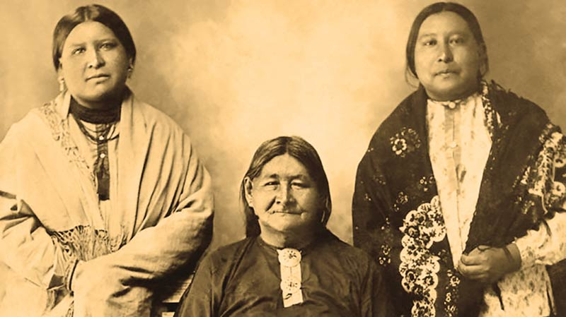 Anna Brown (left) and Mollie Burkhardt (right) with their mother, Lizzie. Anna and her mother were murdered for their land during the infamous Osage Murders in the 1920s.
